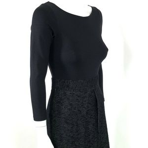 SOLD Theory Black Front Pleat Combo Dress